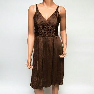 BCBGmaxazria Brown Silk Midi Dress
