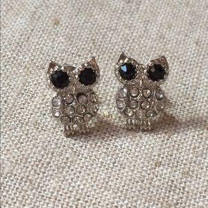 Silver Tone Black Crystal Owl Stud Earrings
