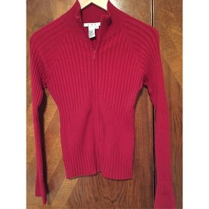 CAbi Red Sweater with Zipper
