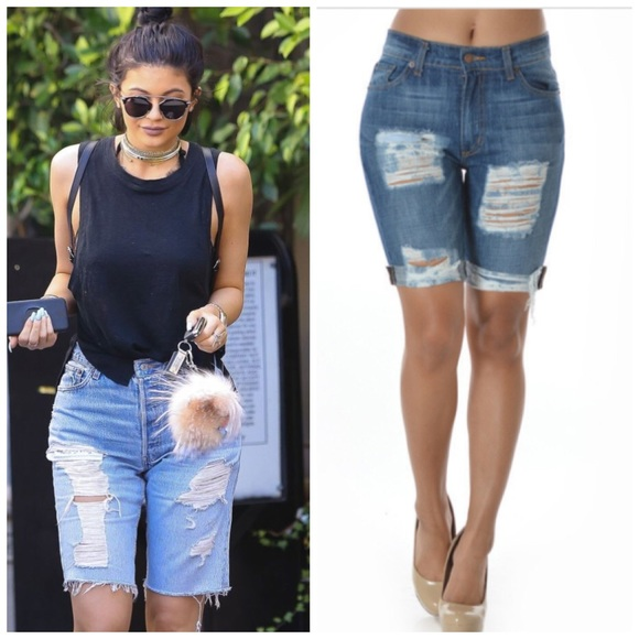 41% off Boutique Denim - Sexy ripped distressed cuffed Bermuda ...