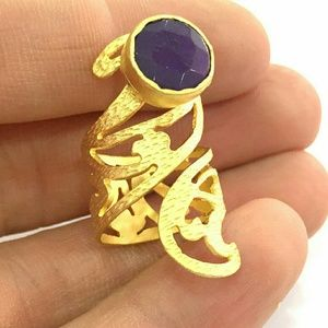 Jewelry - 24K Gold Plated Pinky Ring With Purple Stone