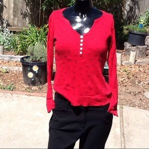 No boundries Tops - Red top with Hearts and Penguins