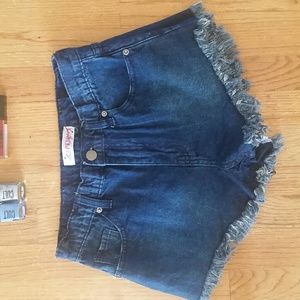 Pants - High waist denim shorts with fringe nwt