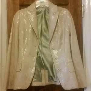 Jackets & Blazers - Cream sequined blazer