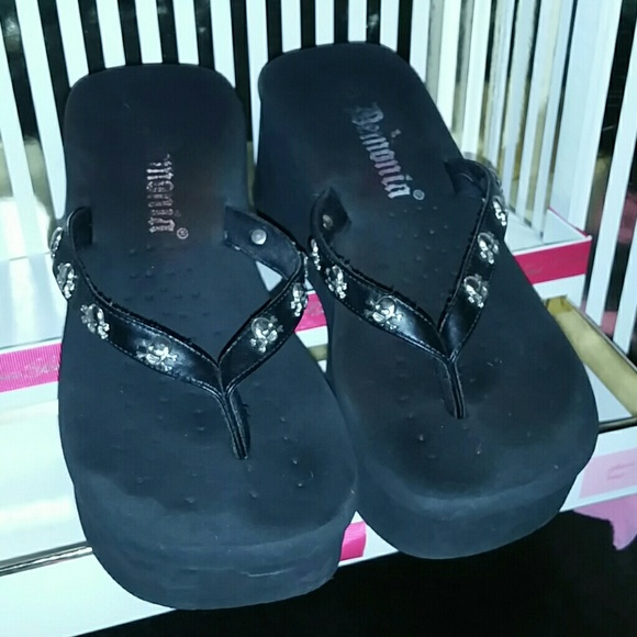 74ba5676e9e Demonia Shoes - Skull high wedge flip flops size 6.5