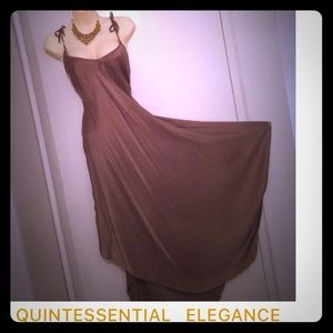 eve Dresses & Skirts - eve Khaki Brown Spaghetti Strap Gown