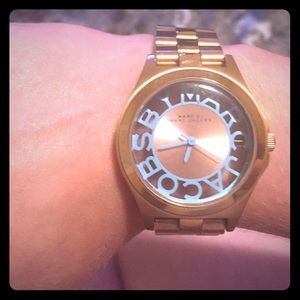 Marc by Marc Jacobs rose gold and baby blue watch