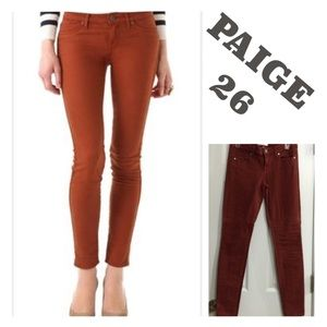 EUC PAIGE JEANS RUST ZIPPERED SKINNY JEANS Size 26