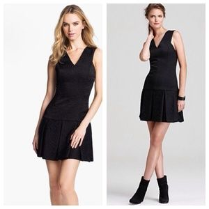 New Robert Rodriguez Black Brocade Flare Dress