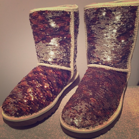 brown and silver sparkle uggs