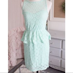 Everly Dresses & Skirts - Mint Crochet Peplum Dress