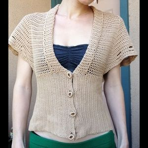 Anthropologie Moth Crochet Knit Short Sleeve Cardi