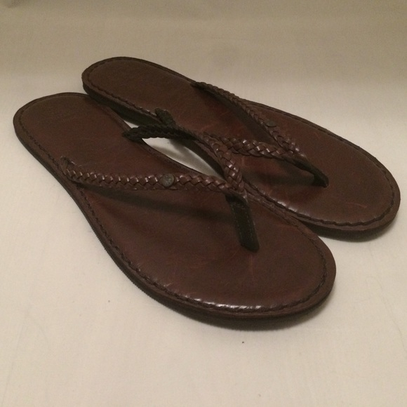 56fc2e1572c1 Abercrombie   Fitch Shoes - Abercrombie   Fitch Braided Leather Flip Flops
