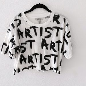 Zara Tops - Zara TRF 'Artist' B&W Crop Top