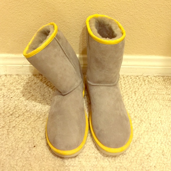 9174c87e142 New without box gray uggs with yellow trim