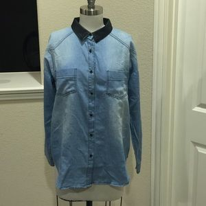 DesertRoseCouture.com Tops - NWT Denim Chambray button down top leather collar