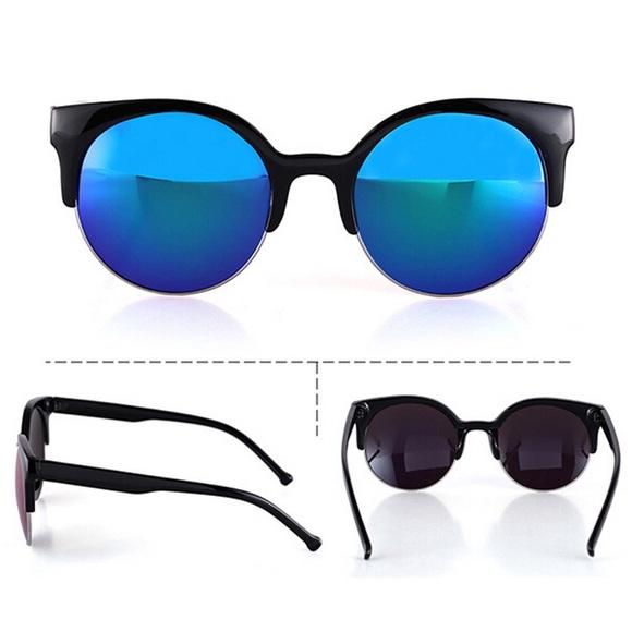 22c592b33110 Retro Semi-Rimless Cat Eye Mirror Lens Sunglasses