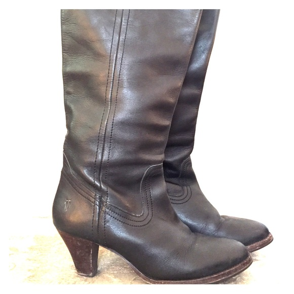 819d20c3a31 Frye Black Leather Pull Mid Heel Riding Boot Sz 9