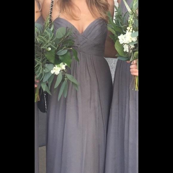 Amsale Dresses | Slate Chiffon Bridesmaid Dress | Poshmark