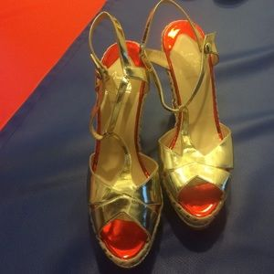 Christian Louboutin Shoes - Christian Louboutin shoes Metallic Platform wedges