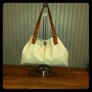Lucky Brand White Leather Purse Braided Straps