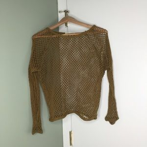 Olive Open Work Netted Long Sleeve Top