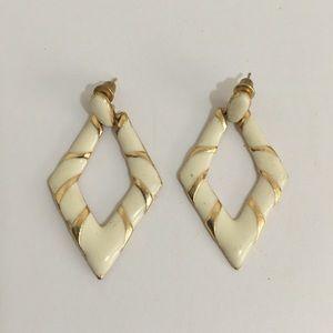 Vintage Gold Tone White & Enamel Post Earrings