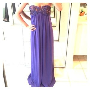 Ted Baker beaded/sequin chiffon long purple gown.