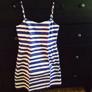 Gap blue white striped dress
