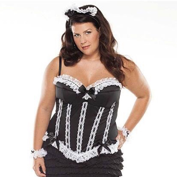50% off tops - sexy french maid corset bustier costume plus size