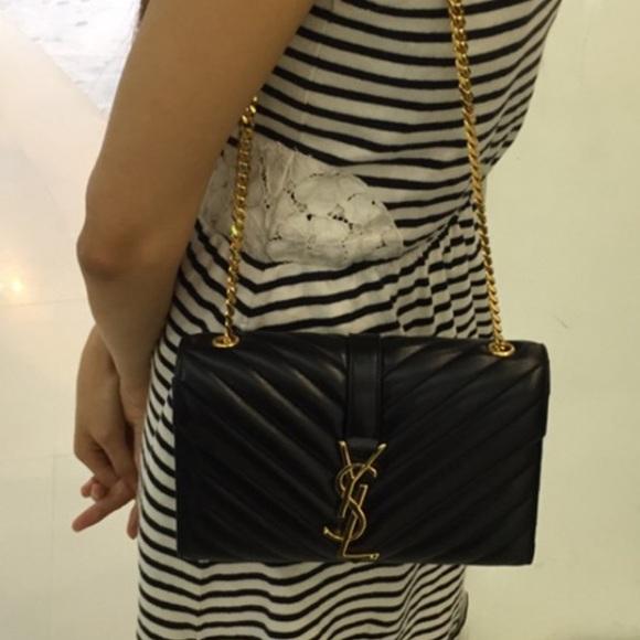 7% off Saint Laurent Handbags - Saint Laurent classic small ... classic  medium monogram saint laurent chain bag in black matelasse leather 299b06272d36a
