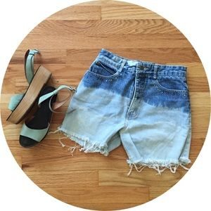 Guess by Marciano Denim - Vintage High Waisted Dip-Dye Cut Offs by Guess