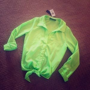 Vintage Havana Tops - New VINTAGE HAVANA Neon Green Tie Top Blouse Small