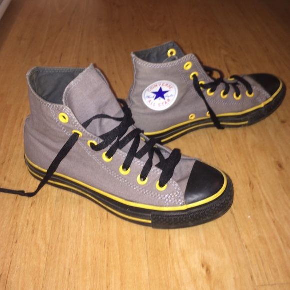Converse Shoes - Gray Converse w  Yellow Trim on Black Sole 31dbdd315a