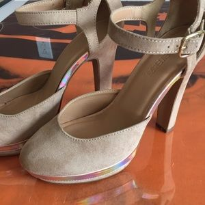 Shoes - Nude holographic pumps