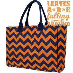 🆕Navy & orange shopping tote bag