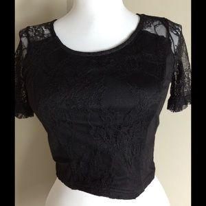 b9c30e82f89c01 H&M Tops | Hm Black Lace Crop Top | Poshmark
