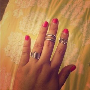 Silver ring set - midi, knuckle