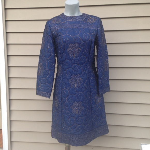 0443edacd24c Vintage 60s 100% silk quilted dress navy medium. M 55fa01e2d6b4a1fad0000396