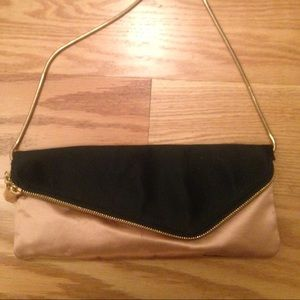 Henri Bendel silk beige and black clutch