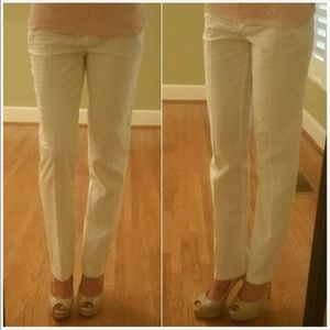 BCBG White Eyelet Fitted Dress Pants SZ 4
