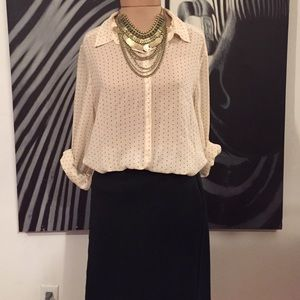 14th & Union Tops - Sheer polka dot button up shirt