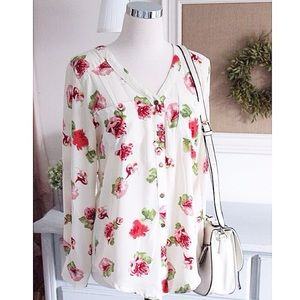 Tops - Floral Open Back Blouse