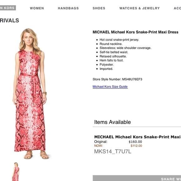 5a158b19bb1 MICHAEL Michael Kors Dresses   Snakeprint Maxi Dress   Poshmark