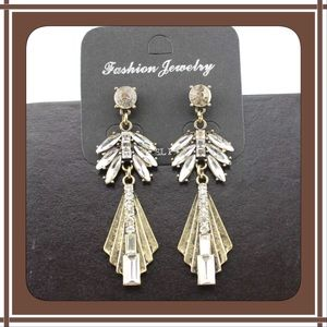 Brand New Crystal Geometric Statement Earrings