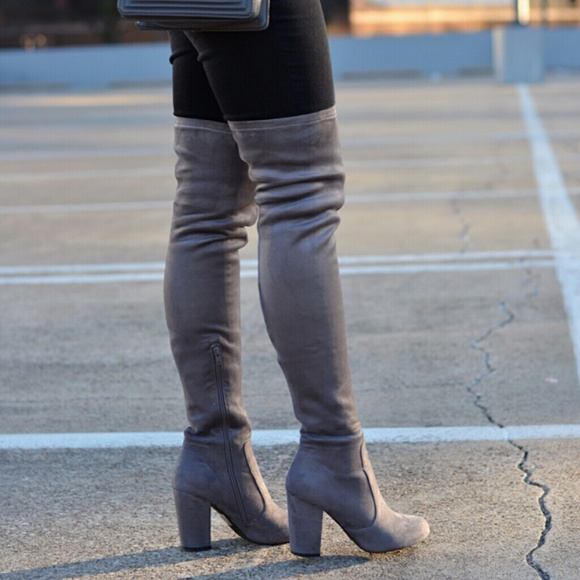 52% off Forever 21 Boots - Grey faux suede over the knee boots ...