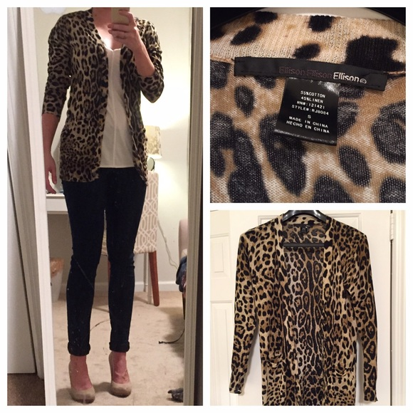 60% off Ellison Sweaters - Ellison Leopard Print Cardigan from ...