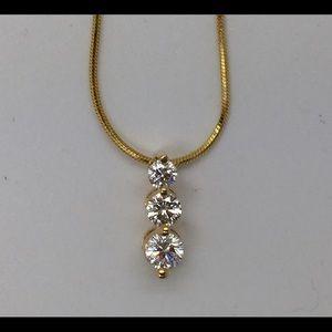 Leo Diamond 3 Stone .60ct 14k Yellow Gold Necklace