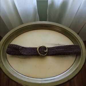 Linea Pelle Accessories - Linea Pelle brown, leather braided belt