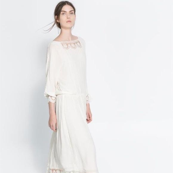 0b158486 Zara long sleeve white dress with lace trimming. M_55fae0abf739bc95fc000b8e